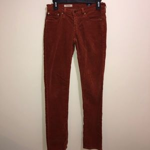 AG  Stevie Slim Size 26R Orange Corduroy Pants